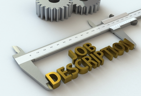 JOB DESCRIPTION, message on vernier caliper, 3D rendering Stock Photo