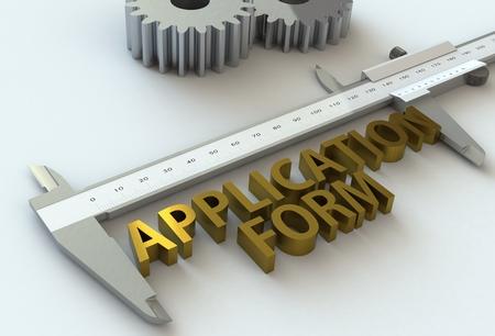vernier caliper: APPLICATION FORM, message on vernier caliper, 3D rendering Stock Photo