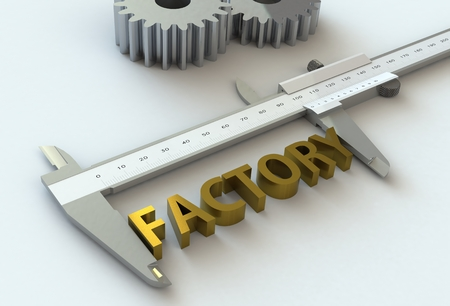 vernier caliper: FACTORY, message on vernier caliper, 3D rendering Stock Photo