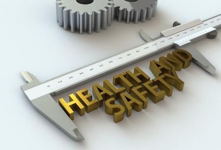 vernier caliper: HEALTH AND SAFETY, message on vernier caliper, 3D rendering