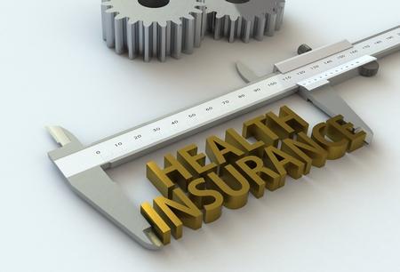 vernier caliper: HEALTH INSURANCE, message on vernier caliper, 3D rendering