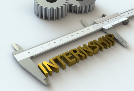vernier caliper: INTERNSHIP, message on vernier caliper, 3D rendering Stock Photo