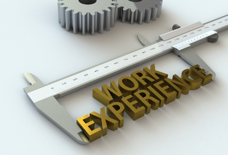 work experience: WORK EXPERIENCE, message on vernier caliper, 3D rendering