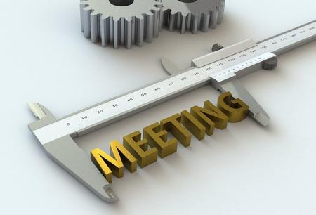 vernier caliper: MEETING, message on vernier caliper, 3D rendering
