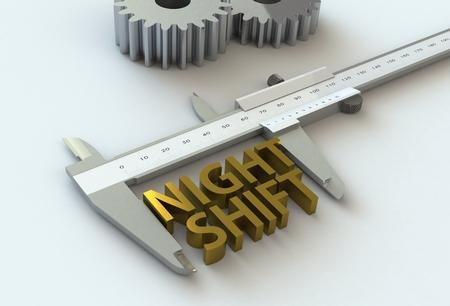 vernier caliper: NIGHT SHIFT, message on vernier caliper, 3D rendering