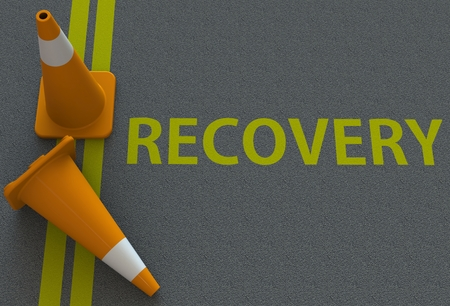 road to recovery: Recovery, message on the road Stock Photo