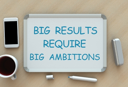 ambitions: Big Results Require Big Ambitions, message on whiteboard, smart phone and coffee on table, 3D rendering