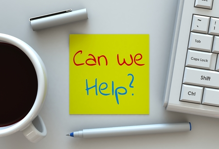can we help: Can We Help, message on note paper, computer and coffee on table