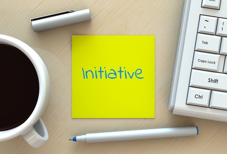 initiatives: Initiative, message on note paper, computer and coffee on table, 3D rendering Stock Photo