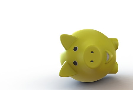 Yellow piggy bank isolated on white background Stock Photo