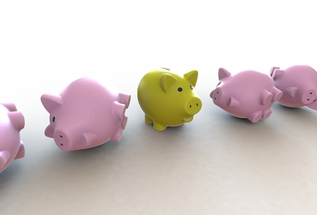 Large group of pink piggy banks with one yellow leader Stock Photo