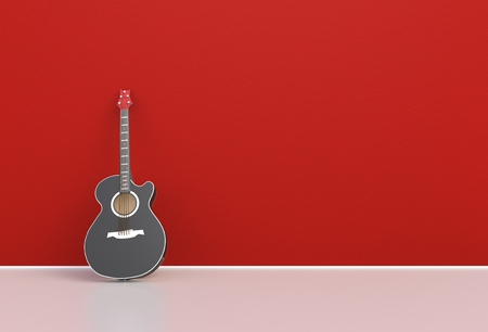 Red acoustic guitar in a empty room, 3D rendering Stock Photo