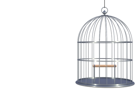 Empty bird chromium cage Isolated on white background, 3D rendering Stok Fotoğraf
