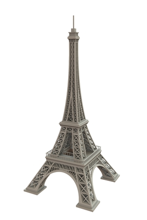 White eiffel tower on white background, 3D rendering