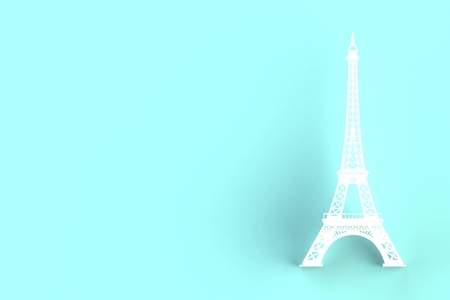 White eiffel tower on blue background, 3D rendering 写真素材