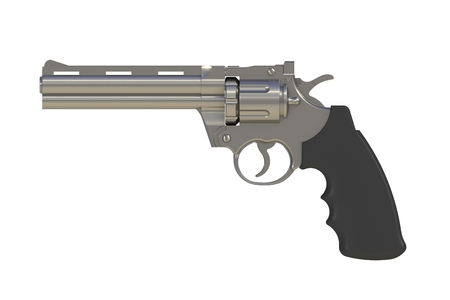 Beside view of chromium revolver 357 magnum isolated on white background, 3D rendering