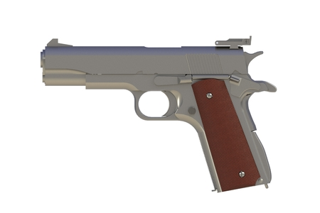 Beside view of chromium M1911 semi-automatic .45 caliber pistol isolated on white background, 3D rendering