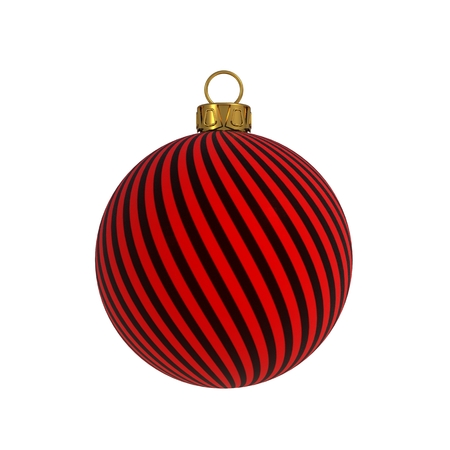 Christmas ball New Years Eve decoration black red convolution lines bauble wintertime hanging adornment souvenir. Traditional ornament happy winter holidays Merry Xmas symbol. 3D rendering