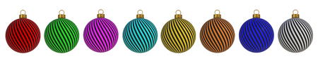 Christmas ball New Years Eve decoration convolution lines bauble wintertime hanging adornment souvenir. Traditional ornament happy winter holidays Merry Xmas symbol. 3D rendering