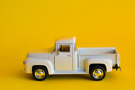 Vintage pickup truck abstract minimal yellow background, Car concept