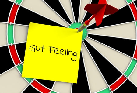 Gut Feeling, message on dart board, 3D rendering Banque d'images