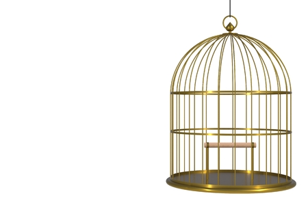 Empty bird golden cage Isolated on white background, 3D rendering