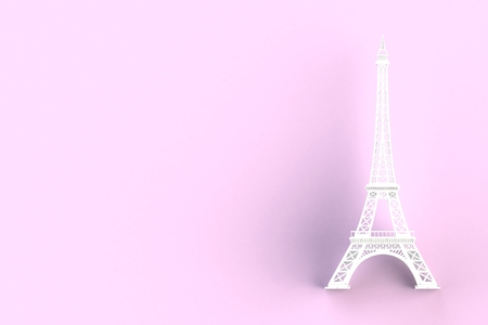 White eiffel tower on pink background, 3D rendering