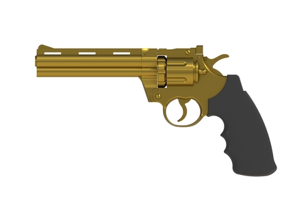 Beside view of gold revolver 357 magnum isolated on white background, 3D rendering