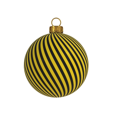 Christmas ball New Years Eve decoration black yellow convolution lines bauble wintertime hanging adornment souvenir. Traditional ornament happy winter holidays Merry Xmas symbol. 3D rendering