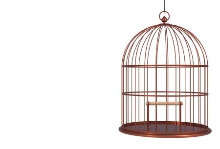 Empty bird copper cage Isolated on white background, 3D rendering