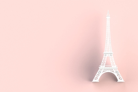 White eiffel tower on red background, 3D rendering