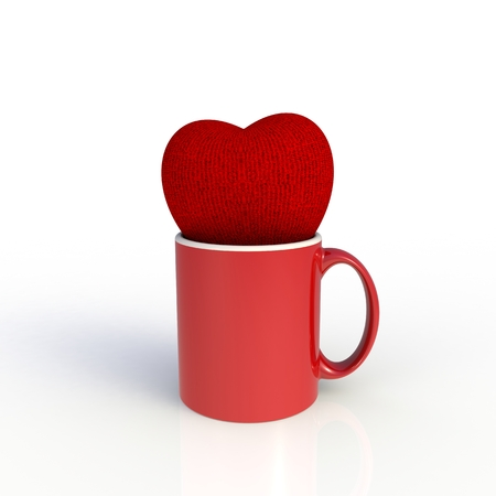 Red heart with red coffee cup isolated on white background. Mock up Template for application design. Exhibition equipment. Set template for the placement of the logo. 3D rendering. 写真素材