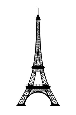 Eiffel tower black silhouette on white background, 3D rendering 写真素材