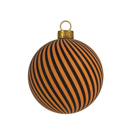 Christmas ball New Years Eve decoration black orange convolution lines bauble wintertime hanging adornment souvenir. Traditional ornament happy winter holidays Merry Xmas symbol. 3D rendering