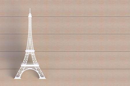 White eiffel tower on wooden board, 3D rendering