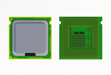 CPU (Central processing unit) microchip isolated on white background, 3D rendering