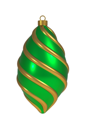 Christmas ball New Years Eve decoration golden green convolution lines bauble wintertime hanging adornment souvenir. Traditional ornament happy winter holidays Merry Xmas symbol. 3D rendering 스톡 콘텐츠