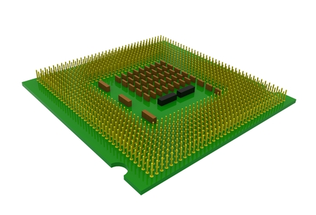 Isometric view of CPU (Central processing unit) microchip isolated on white background, 3D rendering