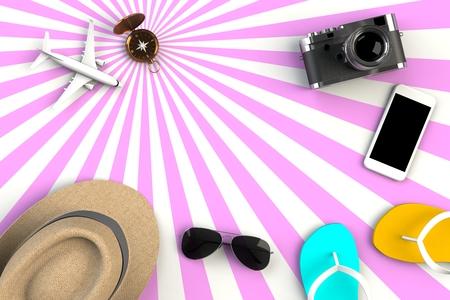 Blick von oben auf die Accessoires des Reisenden auf gestreiftem rosa Hintergrund, wesentliche Urlaubsartikel, Reisekonzept, 3D-Rendering Standard-Bild