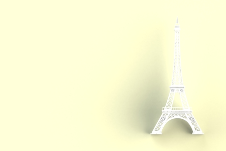 White eiffel tower on yellow background, 3D rendering