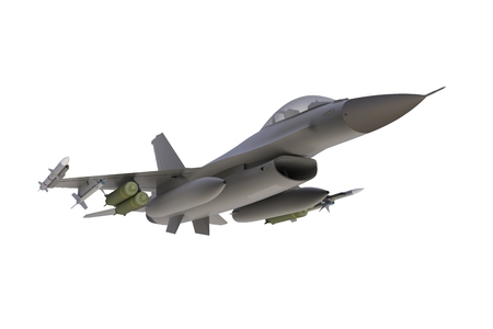 Below view of F16, american military fighter plane on white background, 3D rendering Reklamní fotografie