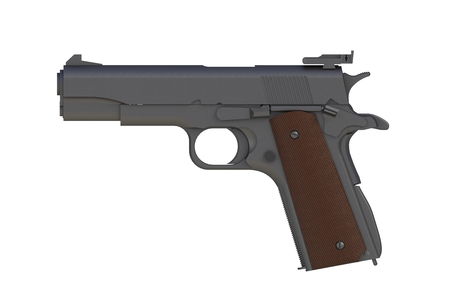 Beside view of matte iron M1911 semi-automatic .45 caliber pistol isolated on white background, 3D rendering