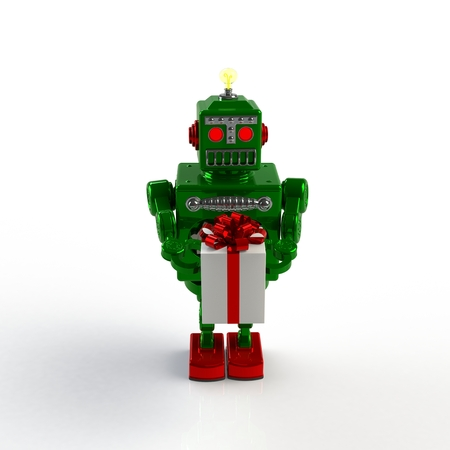 Christmas and New Year's Day, Green retro robot holding a gift box 3d illustration isolated on a white background