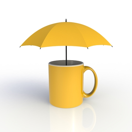 Umbrella with yellow coffee cup isolated on white background. Mock up Template for application design. Exhibition equipment. Set template for the placement of the logo. 3D rendering.