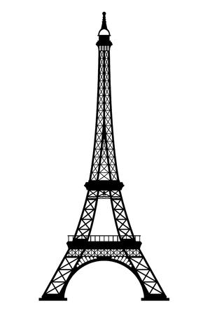 Wieża Eiffla czarna sylwetka na białym tle, renderowanie 3d