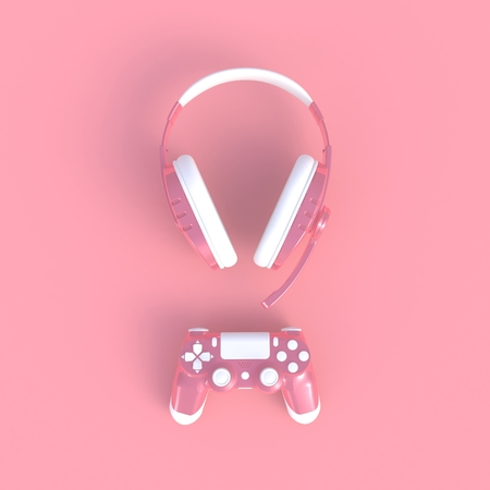 Pink joystick with pink headphones on pink table background, Computer game competition, Gaming concept, 3D rendering Banque d'images