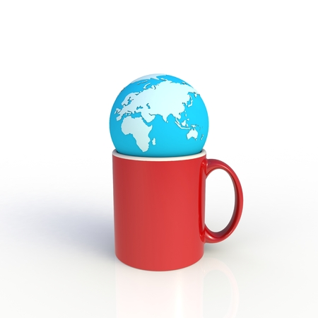 Earth globe with red coffee cup isolated on white background. Mock up Template for application design. Exhibition equipment. Set template for the placement of the logo. 3D rendering.