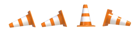 Orange highway traffic construction cones with white stripes isolated on white background 写真素材