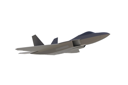Below view of F22, american military fighter plane on white background, 3D rendering