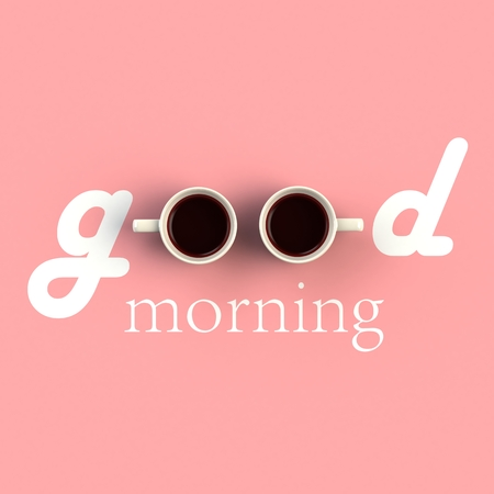 Top view of a cup of coffee in the form of good morning isolated on pink background, Coffee concept illustration, 3d rendering